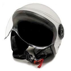 Casco Moto Jet Blanco con gafas Protectoras Talla M
