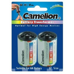 Funda Adaptadora de Aluminio Pilas AA/R06 a C/R14 (2 Pcs) Camelion