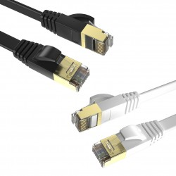 Pack 2 Cables Planos Ethernet 8P8C F/STP 32AWG 3m Max Connection