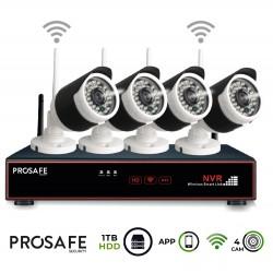 Kit Seguridad Grabador + 1TB HDD Vídeo Inalámbrico 4 Cámaras 4CH WIFI NVR ProSafe