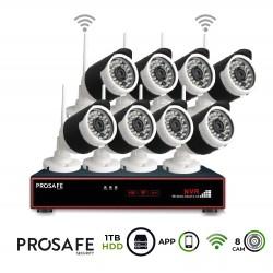 Kit Seguridad Grabador + 1TB HDD Vídeo Inalámbrico 8 Cámaras 8CH WIFI NVR ProSafe