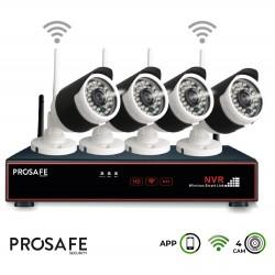 Kit Seguridad Grabador Vídeo Inalámbrico 4 Cámaras 4CH WIFI NVR ProSafe
